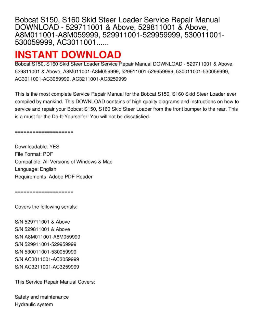 medium resolution of calam o bobcat s150 s160 skid steer loader service repair manual download 529711001 above 529811001 above a8m011001 a8m059999