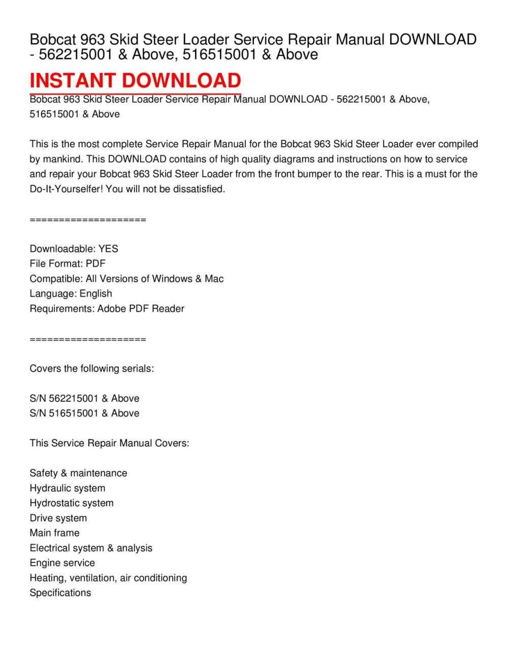 medium resolution of calam o bobcat 963 skid steer loader service repair manual download 562215001 above 516515001 above