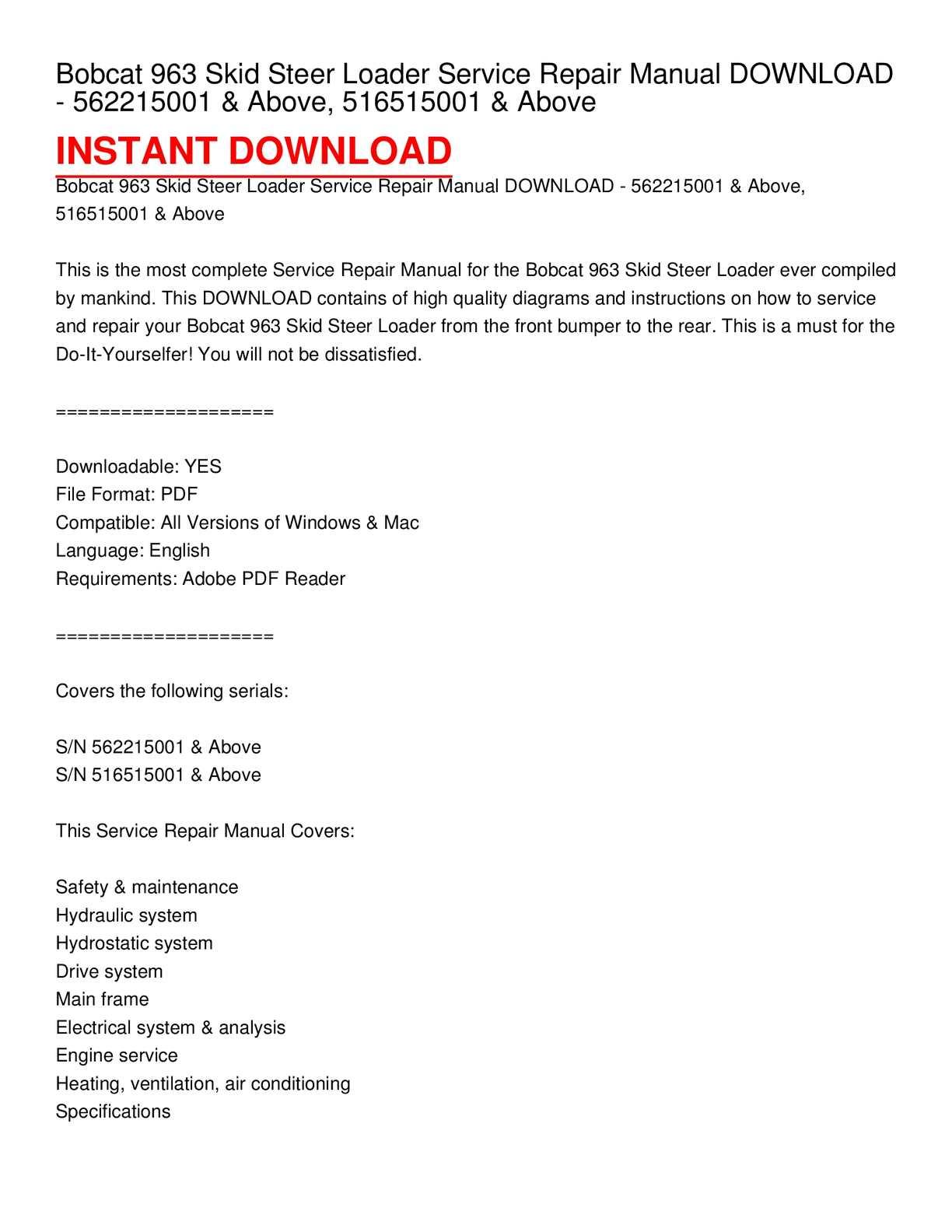 hight resolution of calam o bobcat 963 skid steer loader service repair manual download 562215001 above 516515001 above