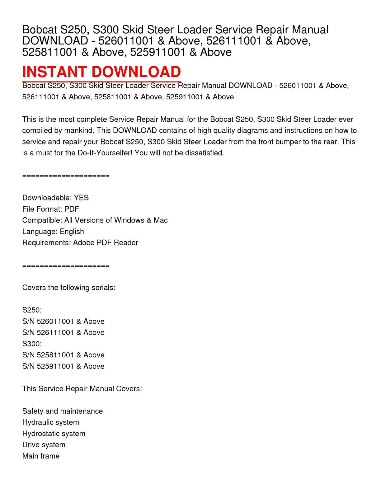 hight resolution of bobcat s250 s300 skid steer loader service repair manual download 526011001 above 526111001 above 525811001 above 525911001 above