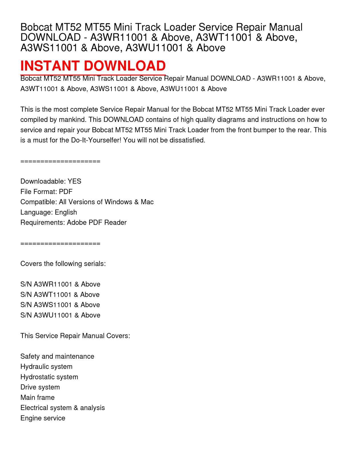 hight resolution of calam o bobcat mt52 mt55 mini track loader service repair manualbobcat mt52 mt55 mini track