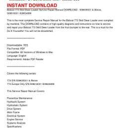 bobcat 773 skid steer loader service repair manual download 509635001 above 509616001 509634999 [ 1224 x 1584 Pixel ]