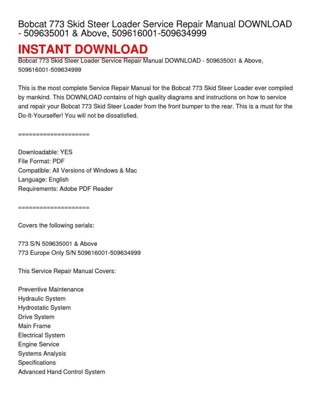 medium resolution of bobcat 773 skid steer loader service repair manual download 509635001 above 509616001 509634999