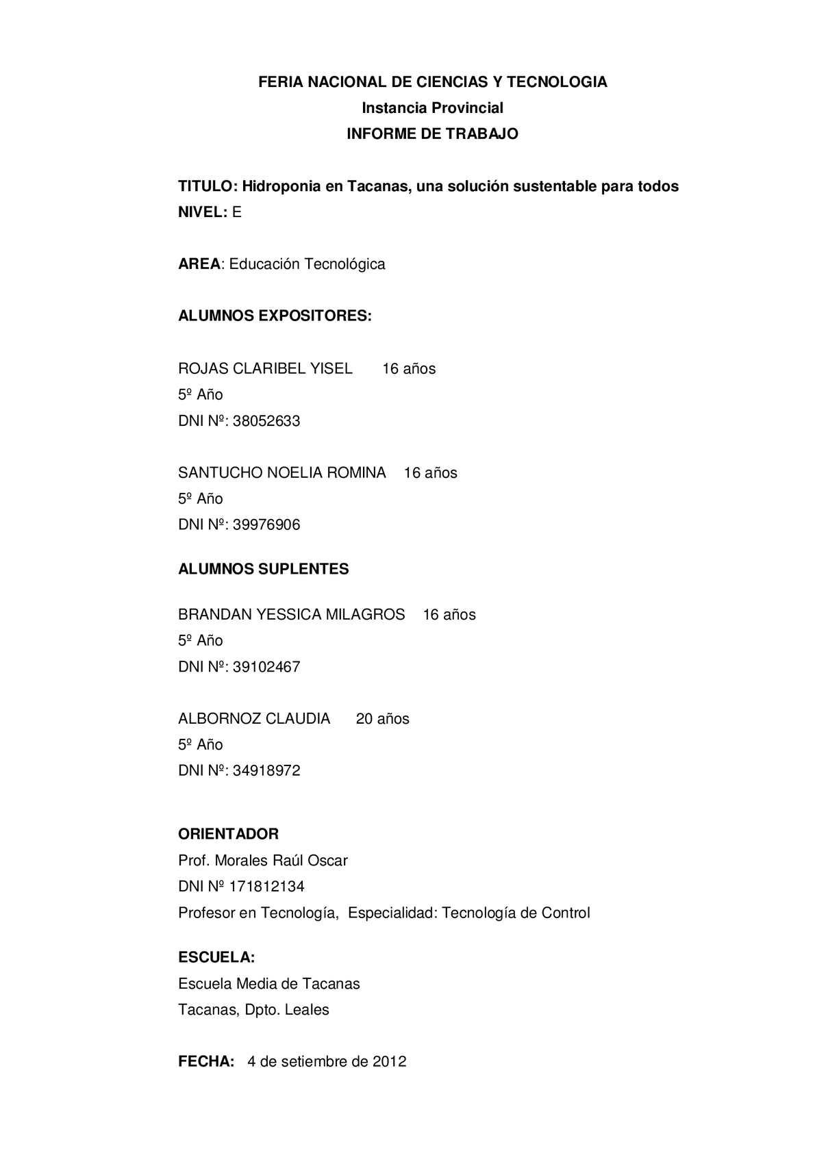 Calamo  2012  Feria de Ciencias  Hidroponia  Escuela