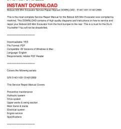 calam o bobcat 325 mini excavator service repair manual download 514011001 514012999 [ 1224 x 1584 Pixel ]