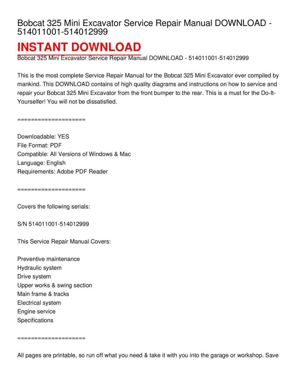 medium resolution of calam o bobcat 325 mini excavator service repair manual download 514011001 514012999