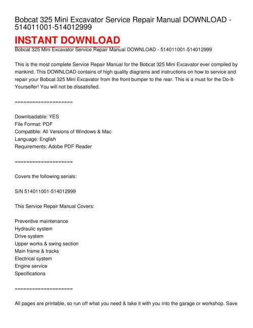 small resolution of calam o bobcat 325 mini excavator service repair manual download 514011001 514012999