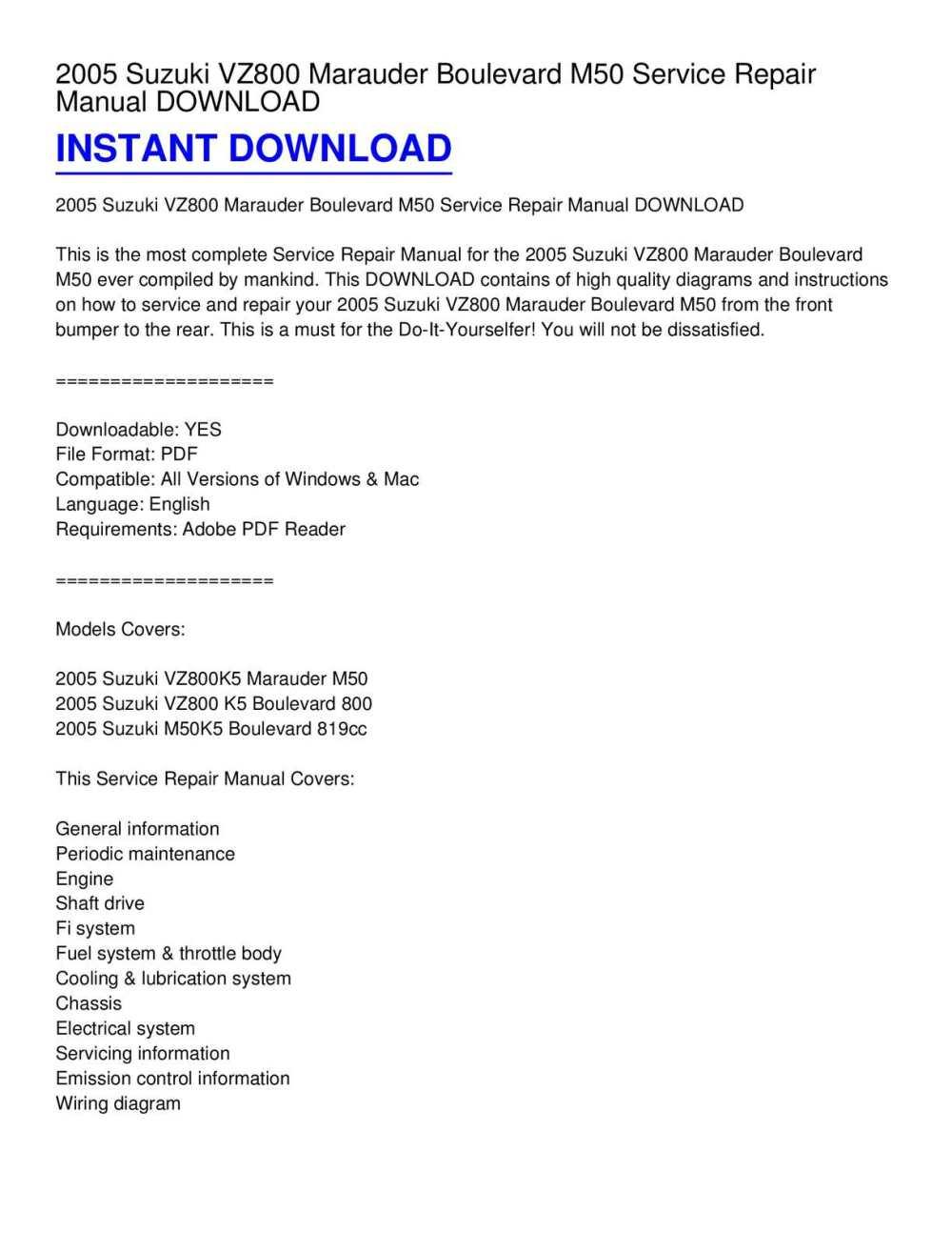 medium resolution of calam o 2005 suzuki vz800 marauder boulevard m50 service repair manual download