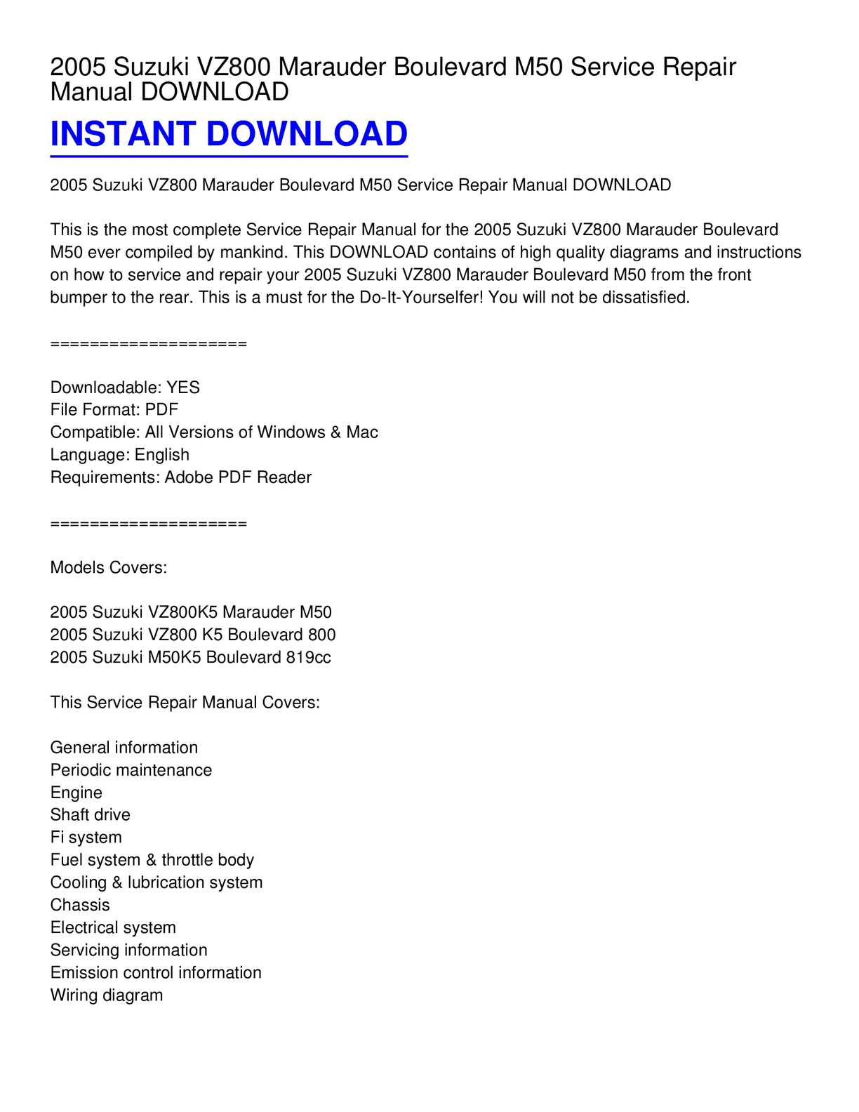 hight resolution of calam o 2005 suzuki vz800 marauder boulevard m50 service repair manual download