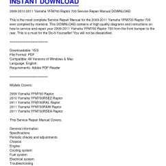 2009 Yamaha Raptor 700 Wiring Diagram Volkswagen 2002 Beetle Calameo 2011 Yfm700 Service Repair Manual Download