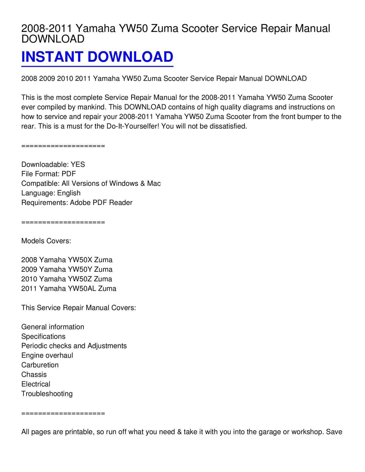 hight resolution of calam o 2008 2011 yamaha yw50 zuma scooter service repair manual download