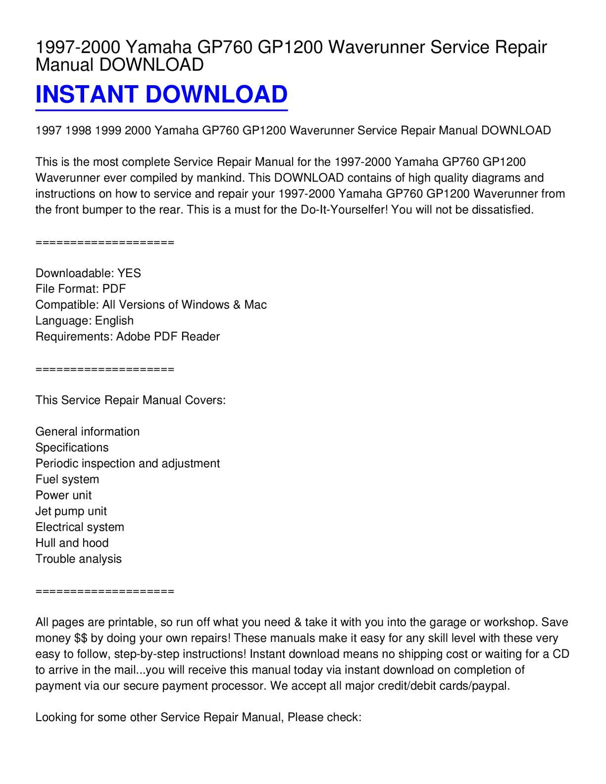 hight resolution of calam o 1997 2000 yamaha gp760 gp1200 waverunner service repair manual download