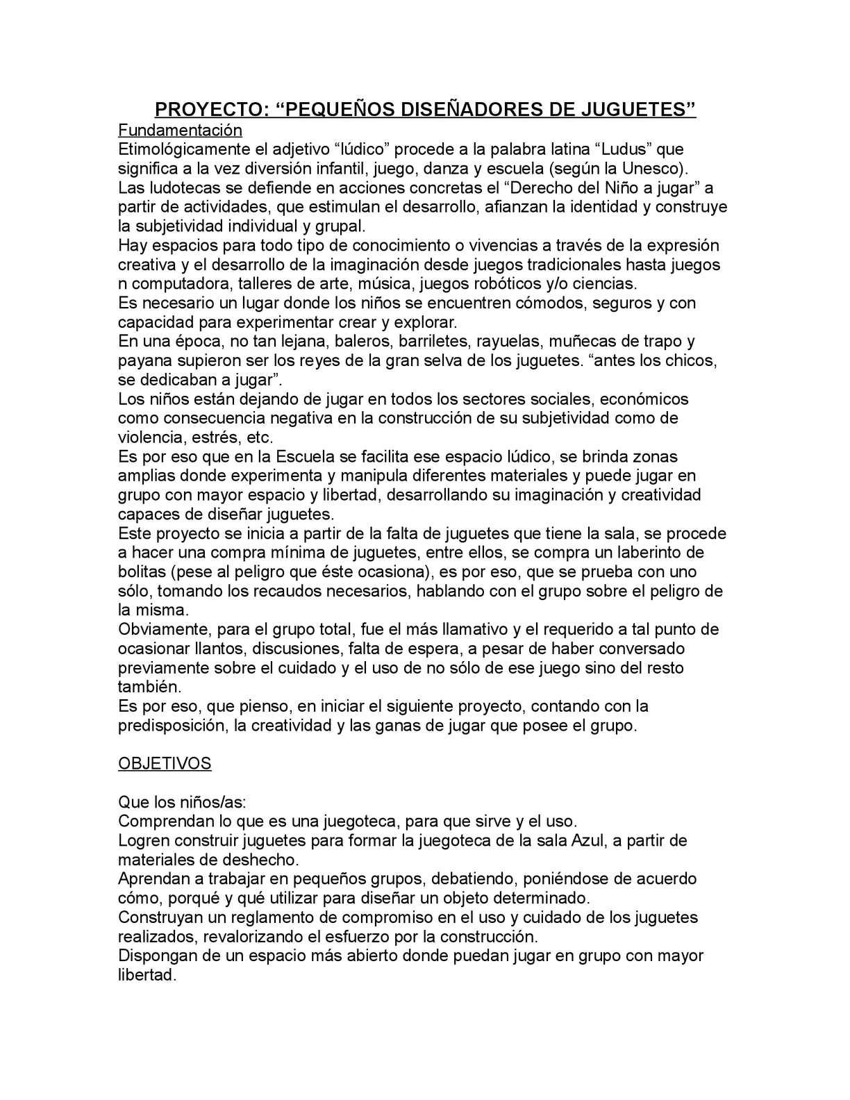 Calamo  PEQUEOS DISEADORES DE JUGUETES Proyecto para