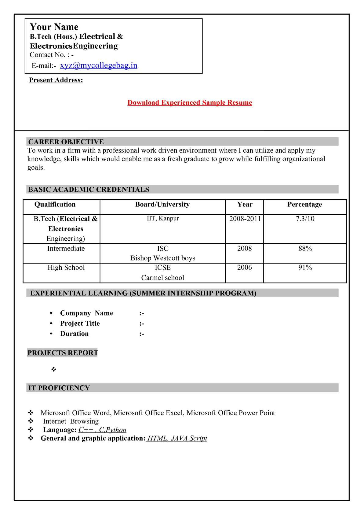 Indian Resume Format For Freshers Engineers Calaméo Resume Format For Freshers Download