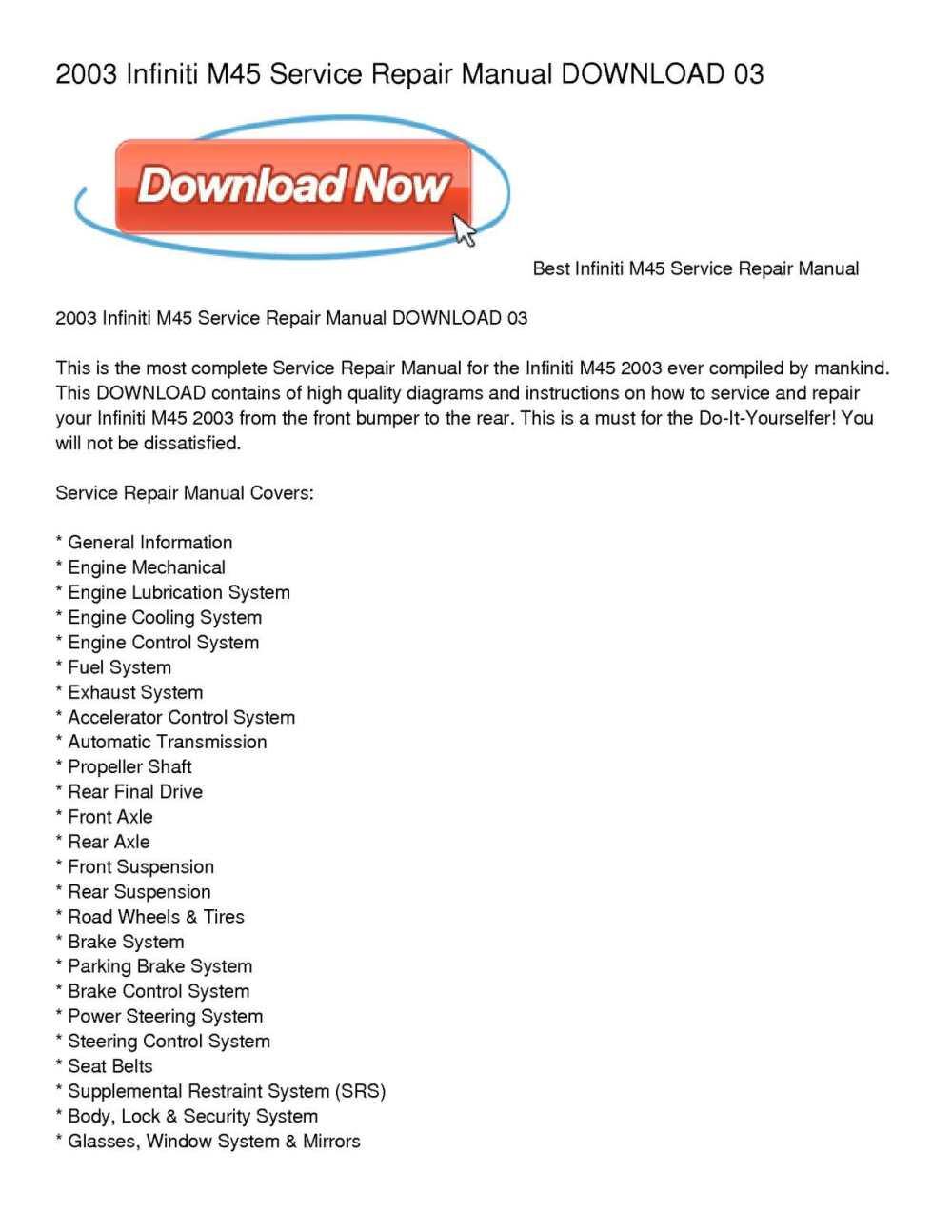 medium resolution of calam o 2003 infiniti m45 service repair manual download 03
