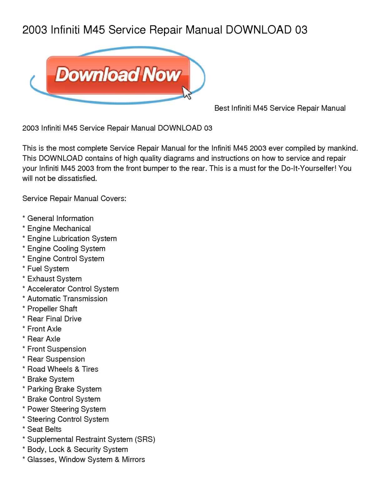 hight resolution of calam o 2003 infiniti m45 service repair manual download 03