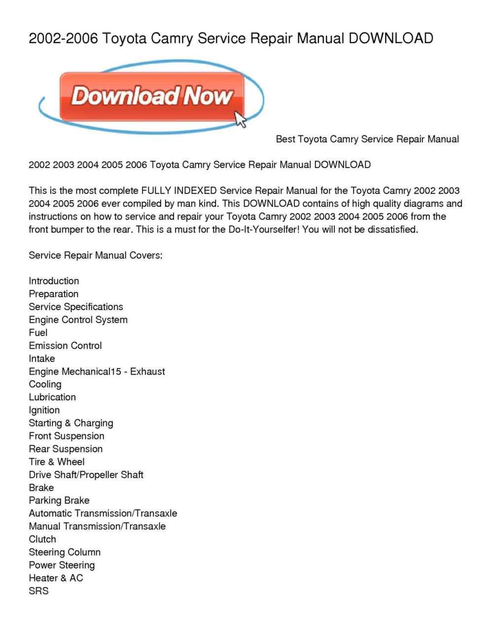 medium resolution of 2002 2006 toyota camry service repair manual download
