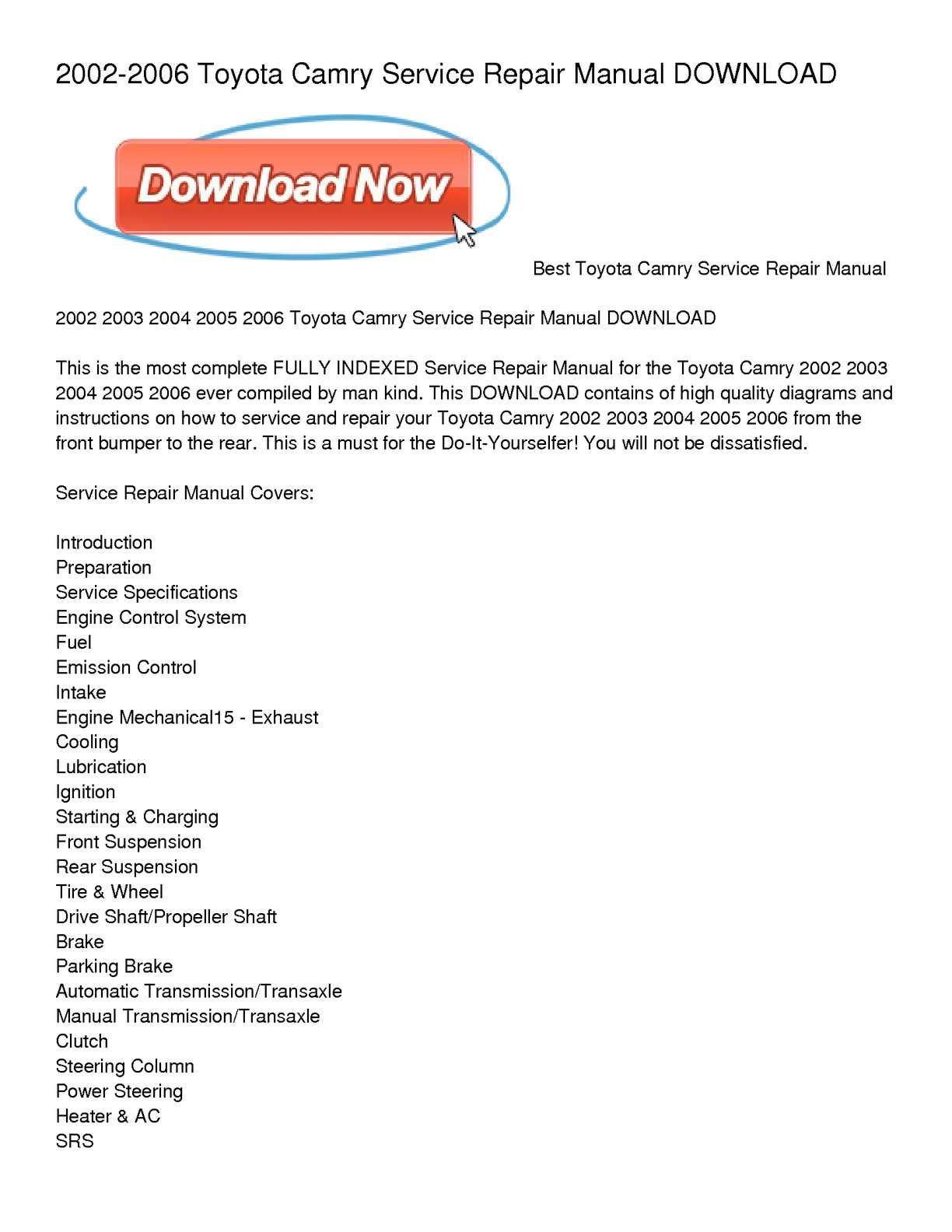 hight resolution of calam o 2002 2006 toyota camry service repair manual download