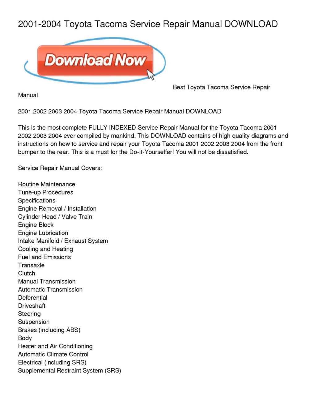 medium resolution of calam o 2001 2004 toyota tacoma service repair manual download 2004 toyota tacoma engine diagram