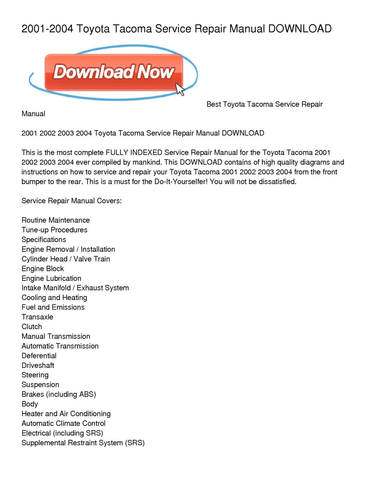 hight resolution of calam o 2001 2004 toyota tacoma service repair manual download 2004 toyota tacoma engine diagram