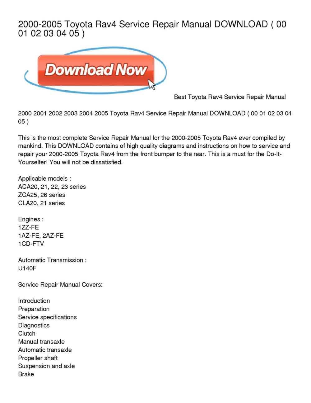 medium resolution of 2000 2005 toyota rav4 service repair manual download