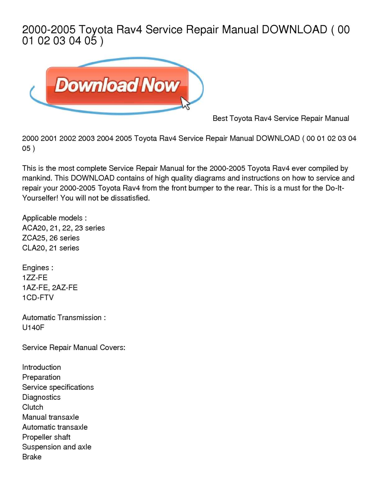 hight resolution of 2000 2005 toyota rav4 service repair manual download