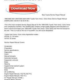 1999 2005 toyota yaris verso echo verso service repair manual download [ 1224 x 1584 Pixel ]