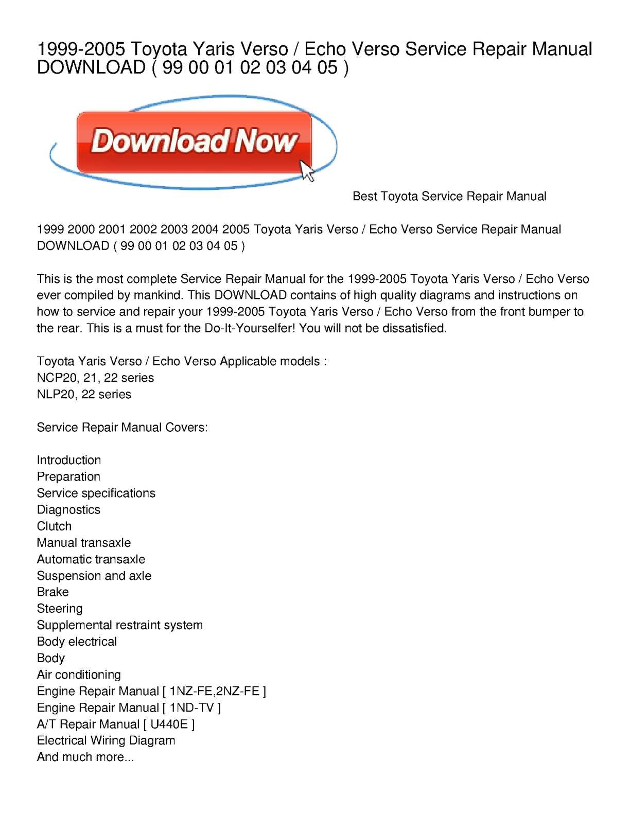 hight resolution of 1999 2005 toyota yaris verso echo verso service repair manual download