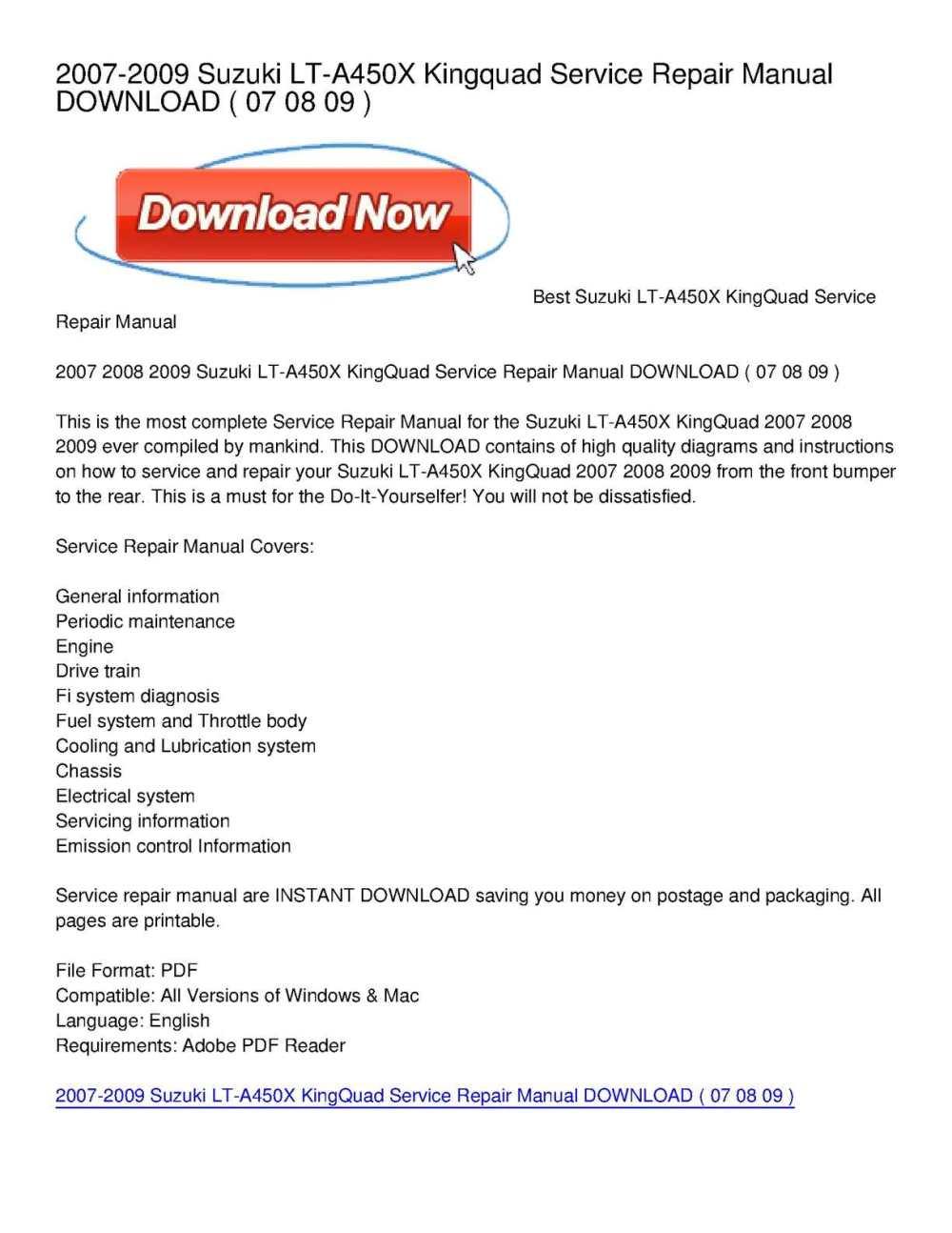 medium resolution of calam o 2007 2009 suzuki lt a450x kingquad service repair manual download