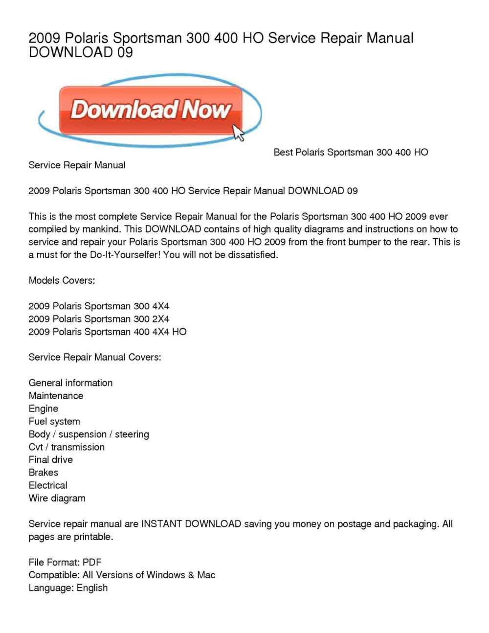 medium resolution of calam o 2009 polaris sportsman 300 400 ho service repair manual download 09