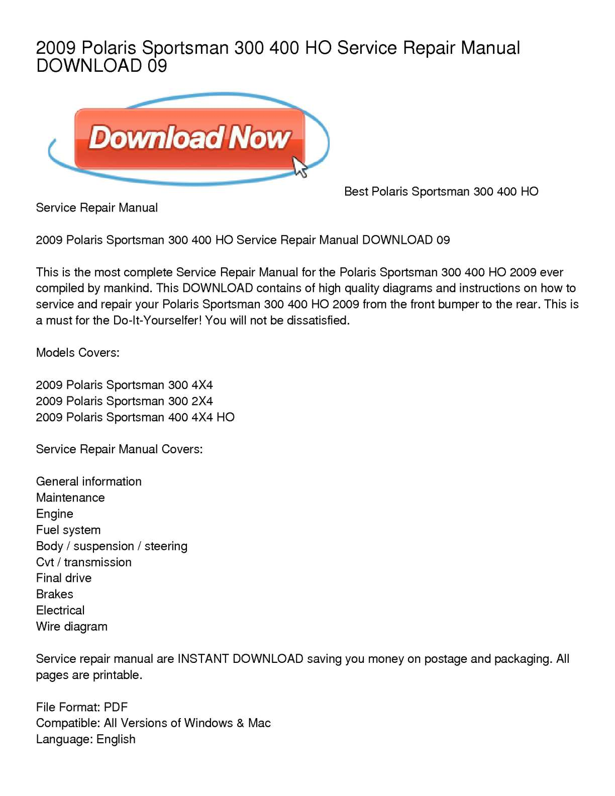 hight resolution of calam o 2009 polaris sportsman 300 400 ho service repair manual download 09