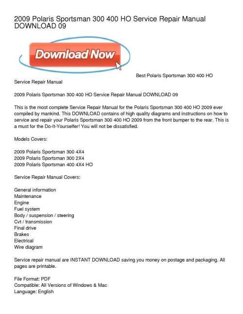 small resolution of calam o 2009 polaris sportsman 300 400 ho service repair manual download 09