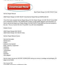 calam o 2009 polaris ranger 4x4 6x6 700 efi crew service repair manual download 09 [ 1224 x 1584 Pixel ]