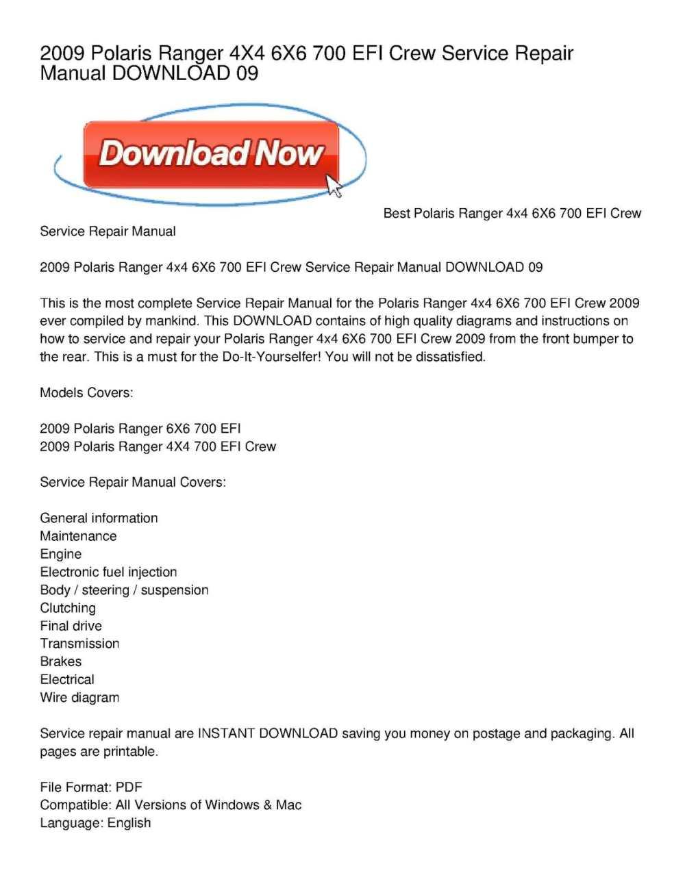 medium resolution of calam o 2009 polaris ranger 4x4 6x6 700 efi crew service repair manual download 09