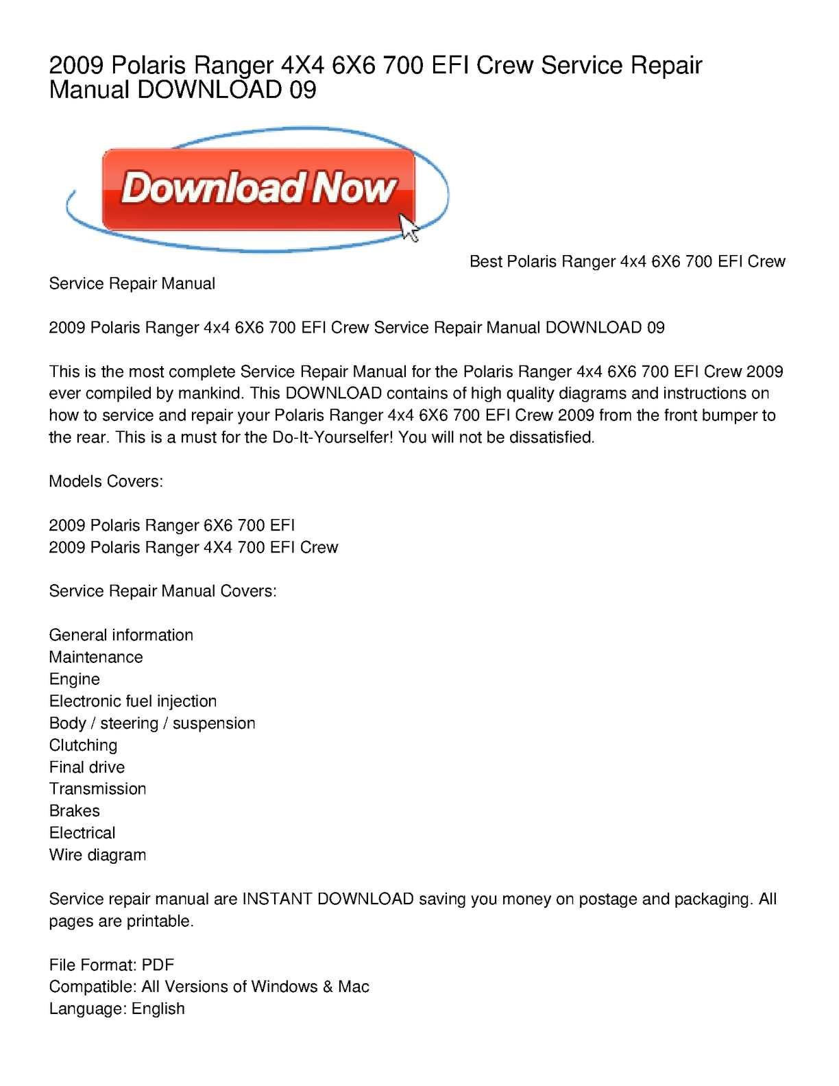 hight resolution of calam o 2009 polaris ranger 4x4 6x6 700 efi crew service repair manual download 09
