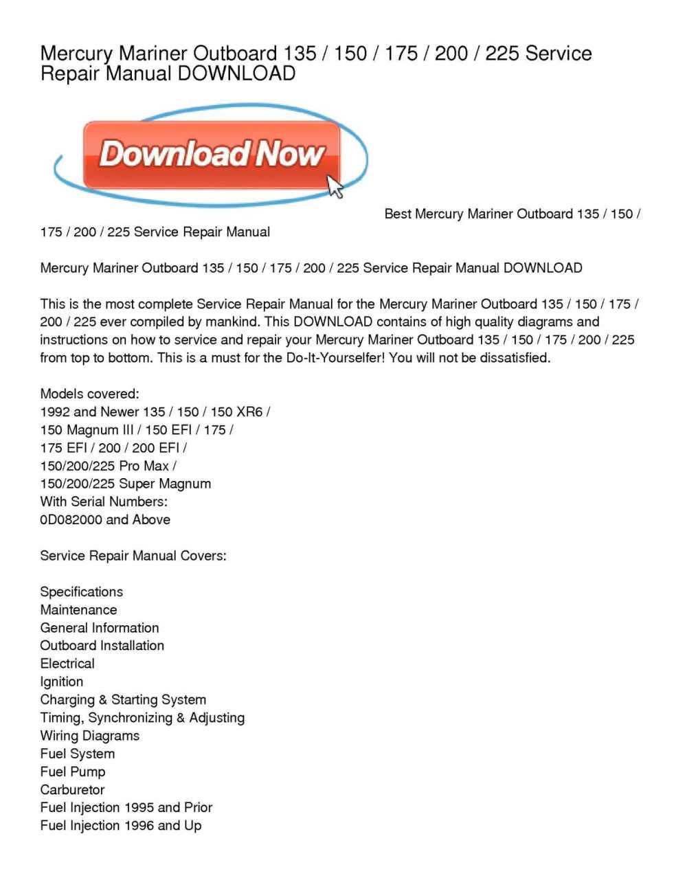 medium resolution of calam o mercury mariner outboard 135 150 175 200 225 service repair