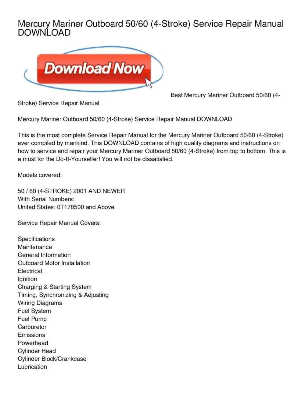 medium resolution of mercury mariner outboard 50 60 4 stroke service repair manual download