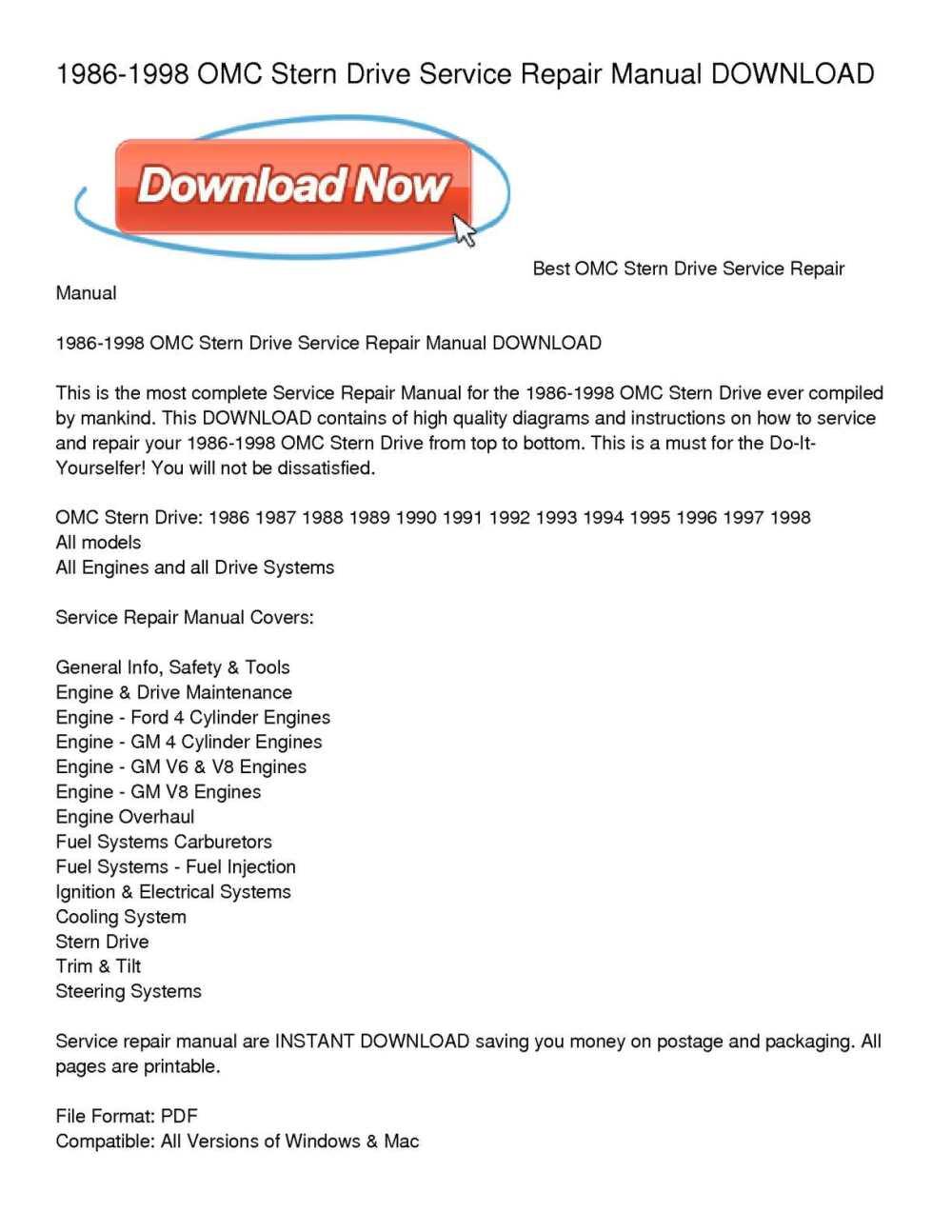 medium resolution of 1986 1998 omc stern drive service repair manual download