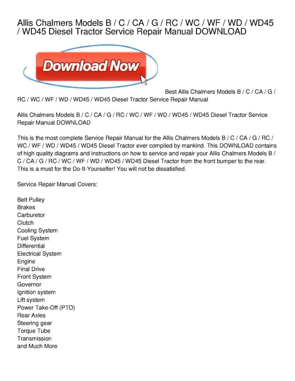 medium resolution of calam o allis chalmers models b c ca g rc wc wf wd wd45 wd45 diesel tractor service repair manual download