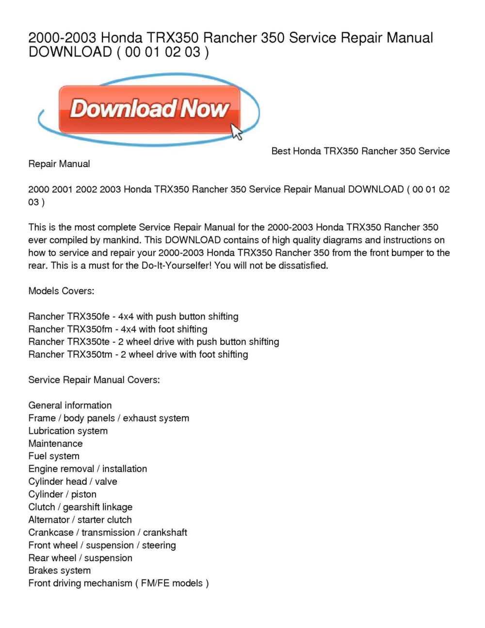medium resolution of 2000 2003 honda trx350 rancher 350 service repair manual download