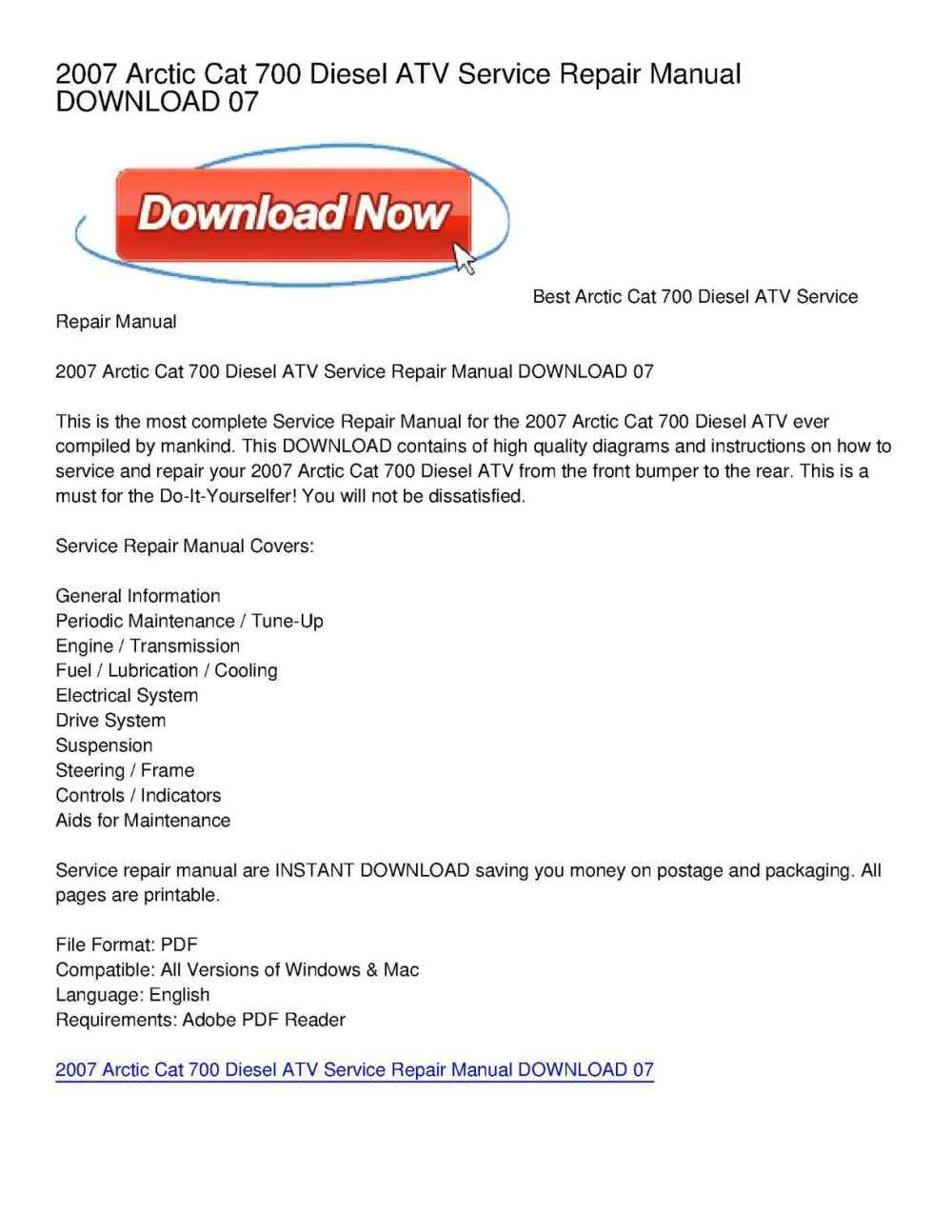 medium resolution of calam o 2007 arctic cat 700 diesel atv service repair manual download 07