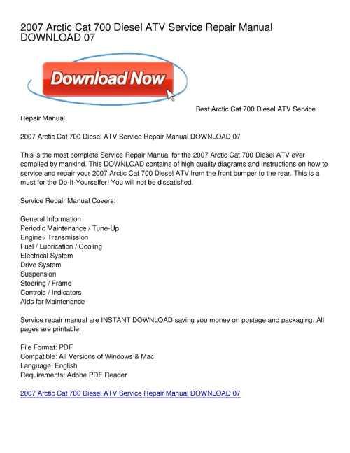 small resolution of calam o 2007 arctic cat 700 diesel atv service repair manual download 07