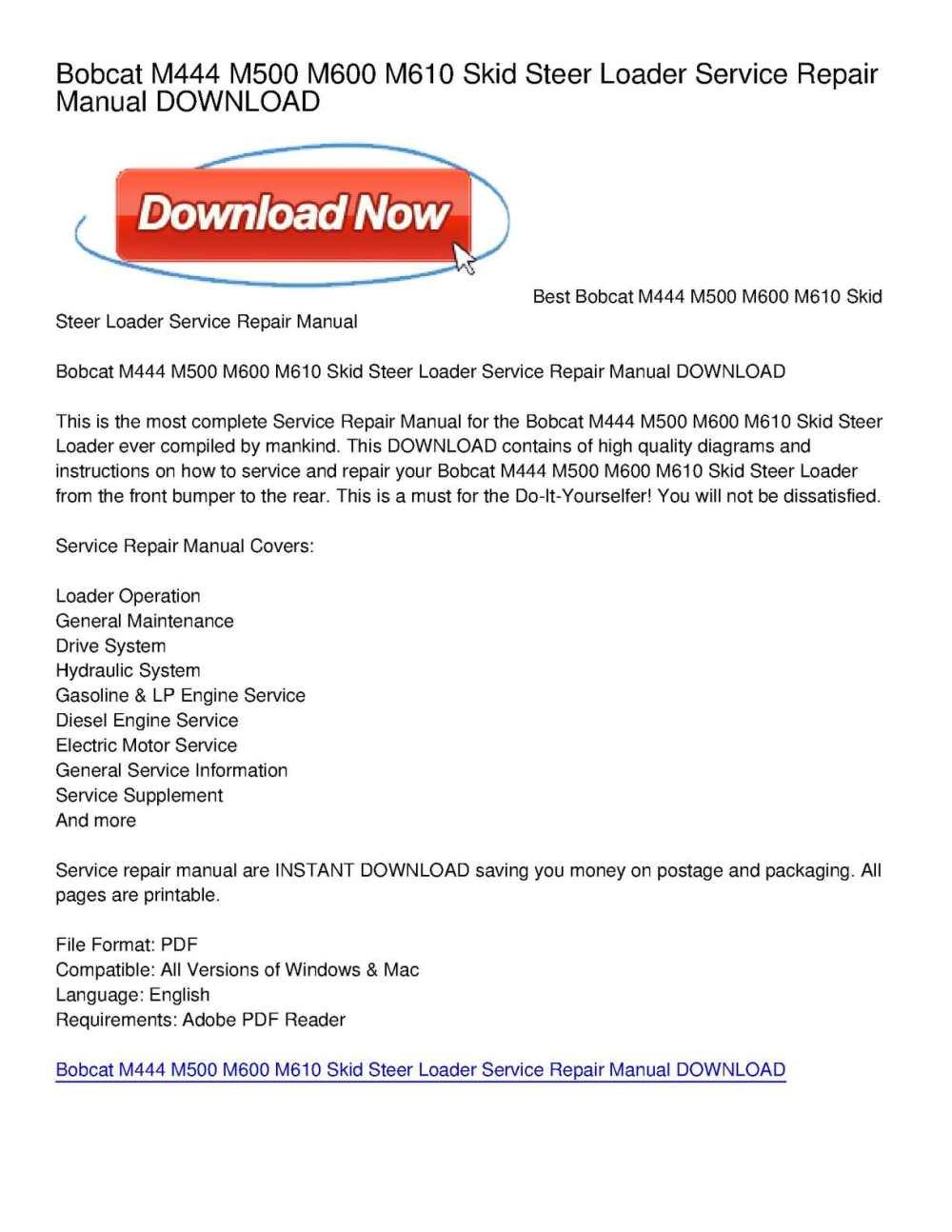 medium resolution of calam o bobcat m444 m500 m600 m610 skid steer loader service repair manual download