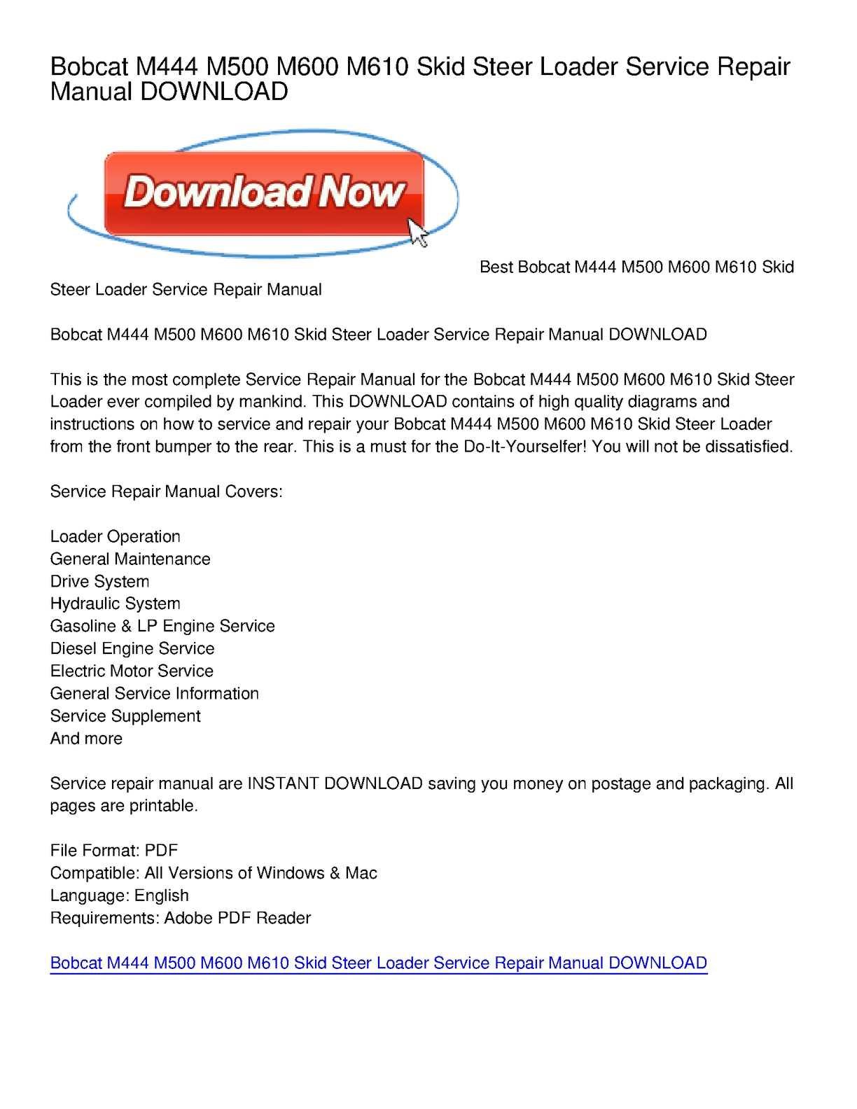 hight resolution of calam o bobcat m444 m500 m600 m610 skid steer loader service repair manual download