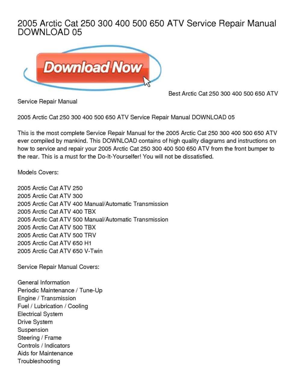 medium resolution of calam o 2005 arctic cat 250 300 400 500 650 atv service repair manual download 05