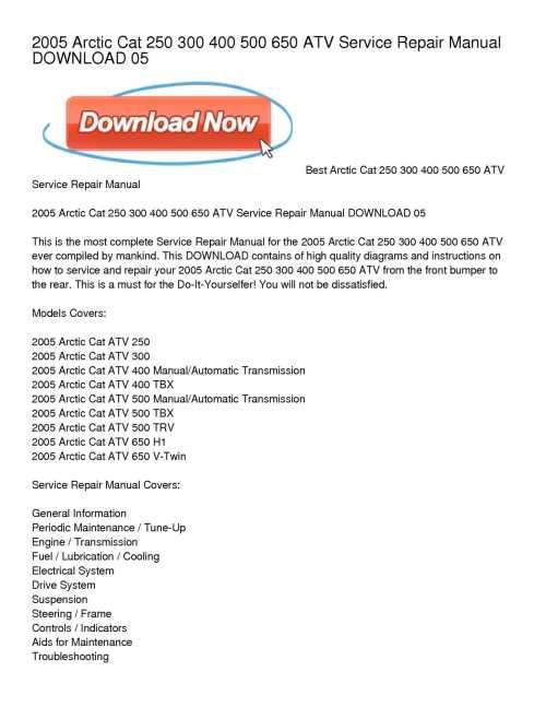 small resolution of calam o 2005 arctic cat 250 300 400 500 650 atv service repair manual download 05