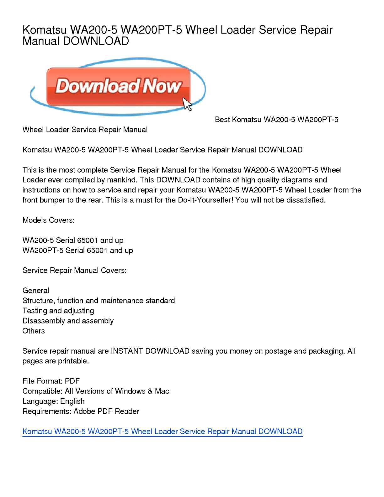 hight resolution of komatsu wa200 5 wa200pt 5 wheel loader service repair manual download