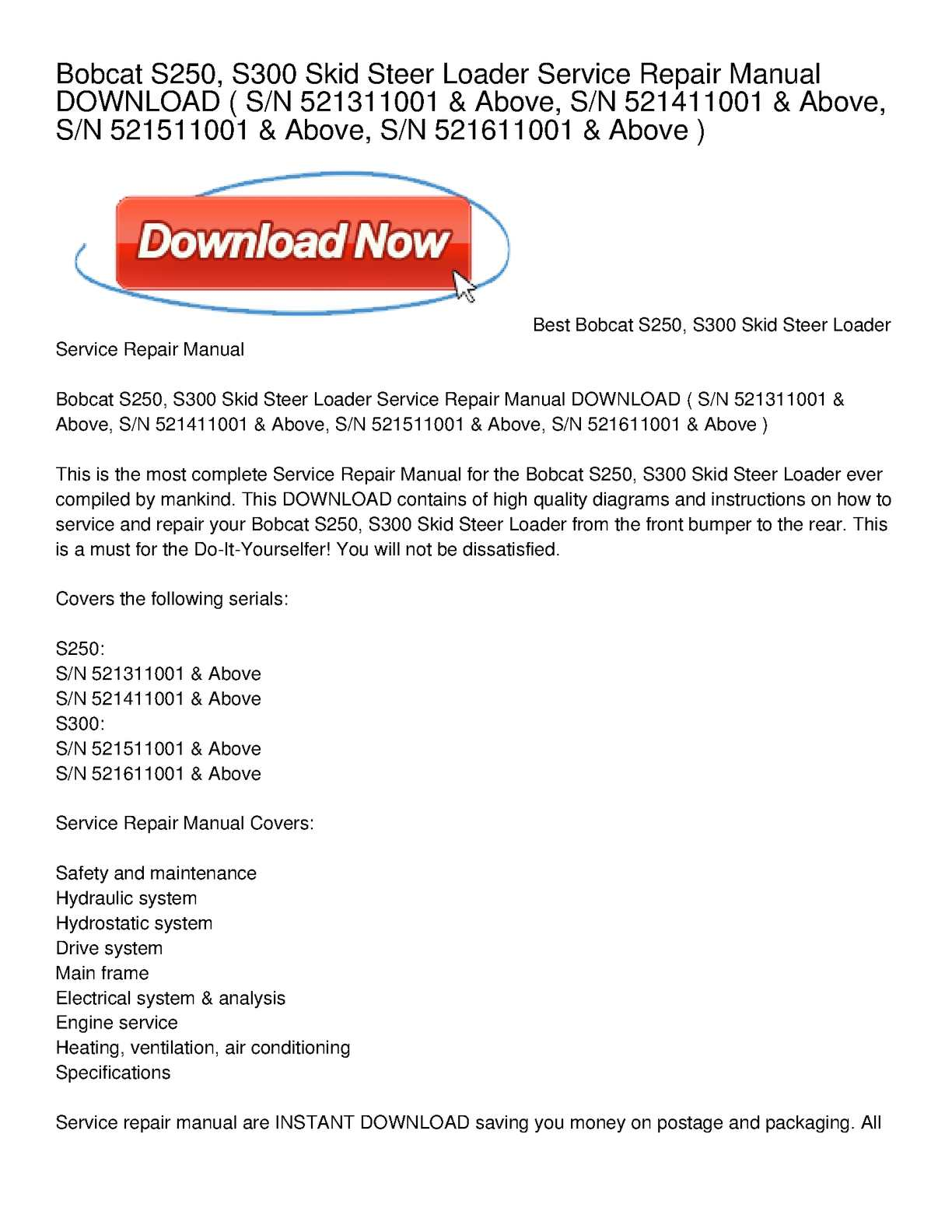 hight resolution of calam o bobcat s250 s300 skid steer loader service repair manual download