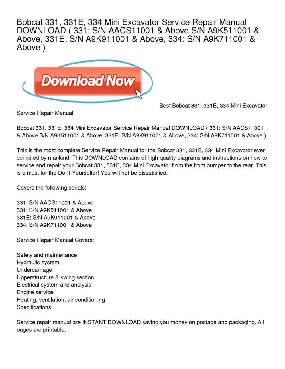medium resolution of bobcat 331 331e 334 mini excavator service repair manual download