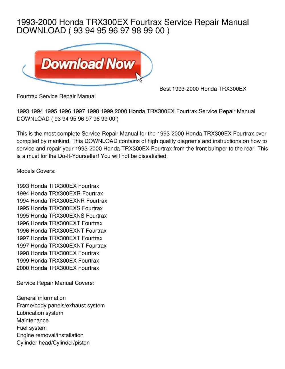 medium resolution of 1993 2000 honda trx300ex fourtrax service repair manual download